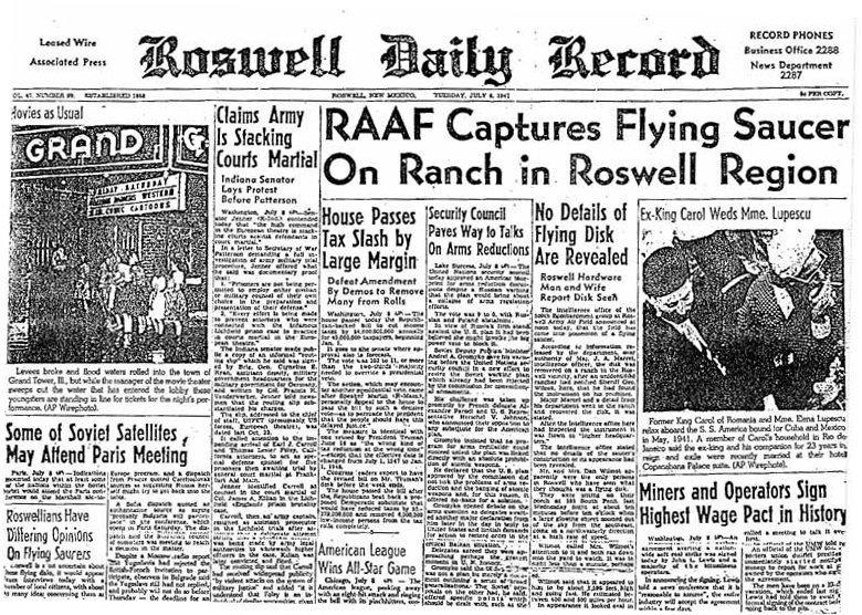 img. dal web - Cronaca dell'incidente di Roswell dell'8 luglio 1947 (Daily Record)